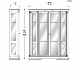 Витрина 4-х дверная, задняя стенка ткань Palazzo Ducale Ciliegio Prama