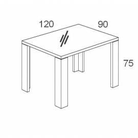 Стол обеденный 120х90 Status Armonia Black со стеклом прямоугольный