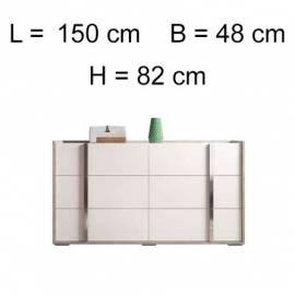Комод низкий Status Treviso Grey 6 ящиков, размеры