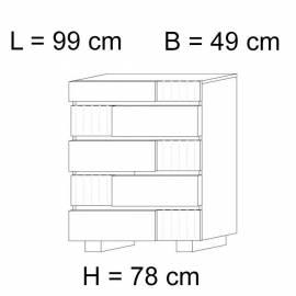 Комод высокий 5 ящиков Status Caprice White