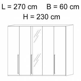 Шкаф 5-дверный с зеркалами Status Caprice White