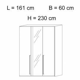 Шкаф 3-дверный с зеркалом Status Elite Grey