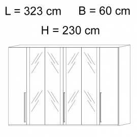 Шкаф 6-дверный с зеркалами Status Elite Grey