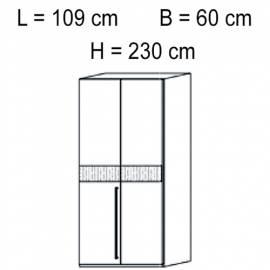 Шкаф 2 дверный отделка кож зам croco Status Volare White