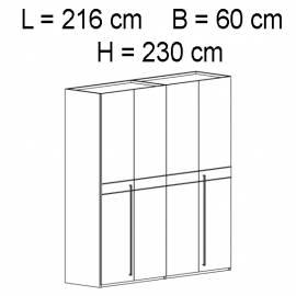 Шкаф 4 дверный отделка кож зам croco Status Volare White