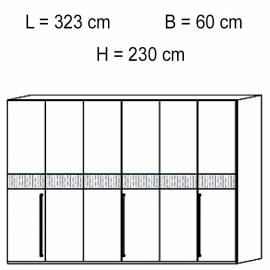 Шкаф 6 дверный отделка кож зам croco Status Volare White