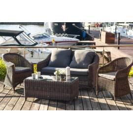 Лаунж-зона 4SIS Кон Панна С темно-коричневая с плетёными диваном, креслами и столиком