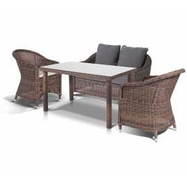 Плетёная обеденная группа 4SIS Кон Панна С темно-коричневая с диваном креслами и столом