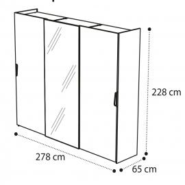 Шкаф-купе 3-дверный, 1 дверь с зеркалом Camelgroup Luna Noce 151ARS.04NO