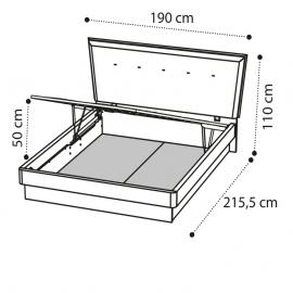 Кровать URANO 160х200 с под.мех. Camelgroup Luna Frassino 151LET.20FR