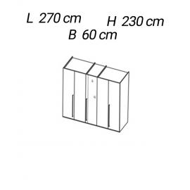 Шкаф 5-дверный с зеркалом Status Perla PLBWLAR05S