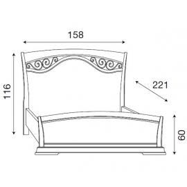 Кровать с изголовьем с ковкой и изножьем Palazzo Ducale Ciliegio Prama 140 см, 71CI43LT