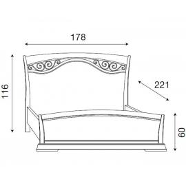 Кровать с изголовьем с ковкой и изножьем Palazzo Ducale Ciliegio Prama 160 см, 71CI43LT, 71CI44LT