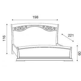 Кровать с изголовьем с ковкой и изножьем Palazzo Ducale Ciliegio Prama 180 см, 71CI45LT