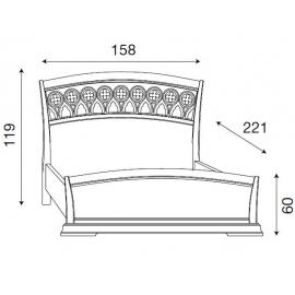 Кровать с резным изголовьем и изножьем Palazzo Ducale Ciliegio Prama 140 см