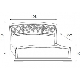 Кровать с резным изголовьем и изножьем Palazzo Ducale Ciliegio Prama 180 см