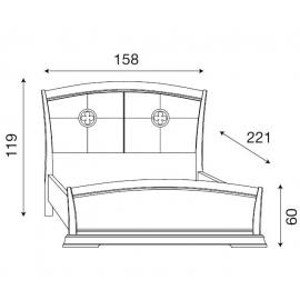 Кровать с кожаным изголовьем и изножьем Palazzo Ducale Ciliegio Prama 140 см
