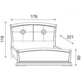 Кровать с кожаным изголовьем и изножьем Palazzo Ducale Ciliegio Prama 160 см