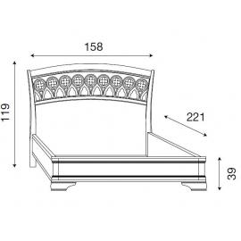 Кровать с резным изголовьем без изножья Palazzo Ducale Ciliegio Prama 140 см