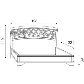 Кровать с резным изголовьем без изножья Palazzo Ducale Ciliegio Prama 180 см