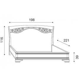 Кровать с ковкой без изножья Palazzo Ducale Ciliegio Prama 180 см