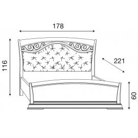 Кровать с мягким изголовьем ковкой и изножьем Palazzo Ducale Ciliegio Prama 160 см 71CI64LT