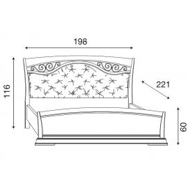 Кровать с мягким изголовьем ковкой и изножьем Palazzo Ducale Ciliegio Prama 180 см 71CI65LT