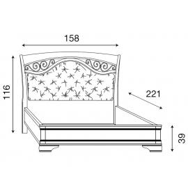 Кровать с мягким изголовьем ковкой без изножья Palazzo Ducale Ciliegio Prama 140 см 71CI73LT