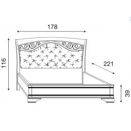 Кровать с мягким изголовьем ковкой без изножья Palazzo Ducale Ciliegio Prama 160 см 71CI74LT