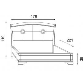 Кровать с кожаным изголовьем без изножья Palazzo Ducale Ciliegio Prama 160 см 71CI34LT