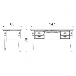 Письменный стол с 4-мя ящиками Palazzo Ducale Laccato Prama 71BO03SR
