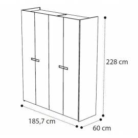 Шкаф 4 дверный Ambra Camelgroup без зеркал