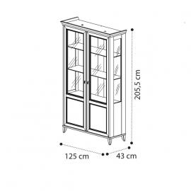 Витрина 2-дверная Camelgroup Giotto Bianco 161VT2.01BA, с 2-й подсветкой LED