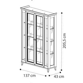 Витрина 2-дверная без ящика Camelgroup Giotto Bianco 161VT2.02BA, с 2-й подсветкой LED