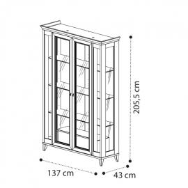 Витрина 2-дверная с ящиком Camelgroup Giotto Bianco 161VT2.04BA, с 2-й подсветкой LED