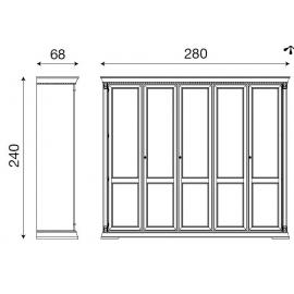 Шкаф 5-ти дверный Palazzo Ducale Laccato Prama 71BO05AR