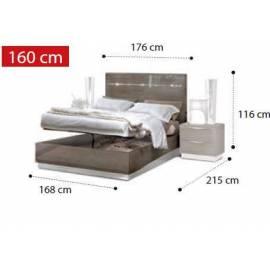 Покрытие Серебристая берёза с глянцем Кровать Legno Platinum Camelgroup 160x200 см с контейнером
