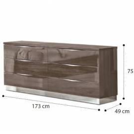Покрытие Серебристая берёза с глянцем Комод низкий 6 ящиков Platinum Camelgroup