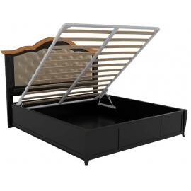 Кровать 160x200 с мягкой спинкой с подъемным механизмом Classico Italiano Тиволи, черная B212ПМ/BLS