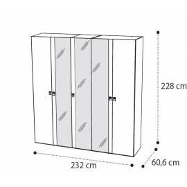 Шкаф 5 дверный Onda Walnut Camelgroup с зеркалами
