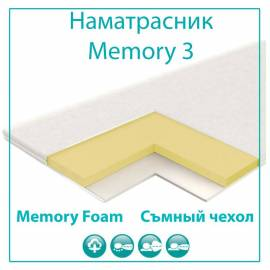 Наматрасник Vegas Memory 3, с эффектом памяти