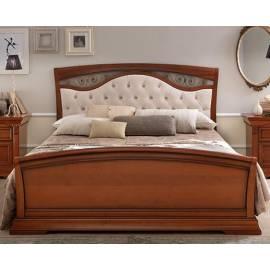 Кровать Palazzo Ducale Ciliegio Prama 160х200 с мягким изголовьем ковкой и изножьем 71CI64LT