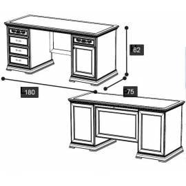 Письменный стол 180 Torriani Noce Camelgroup, с ящиками и дверью