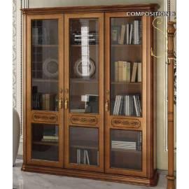 Библиотека 3 дв. Torriani Noce Camelgroup, двери стекло, полки дерево