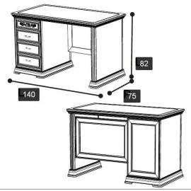 Письменный стол 140 Torriani Avorio Camelgroup, с ящиками
