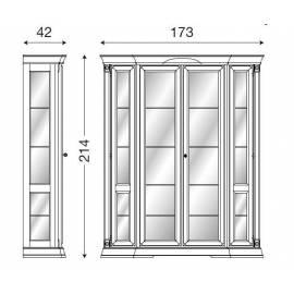 Витрина 4-дверная Palazzo Ducale Laccato Prama задняя стенка зеркало 71BO00