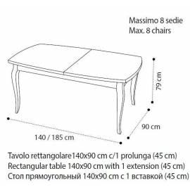 Стол обеденный 140/185 Camelgroup Fantasia Noce, прямоугольный раскладной