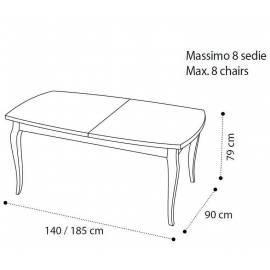 Стол обеденный 140/185 Camelgroup Fantasia Bianco Antico, прямоугольный раскладной