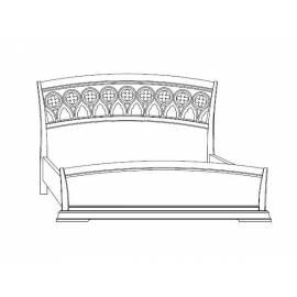 Кровать с резным изголовьем и изножьем Palazzo Ducale Laccato Prama 160 см