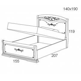 Кровать с подъемником 140 см Maronese Afrodita прямое изножье